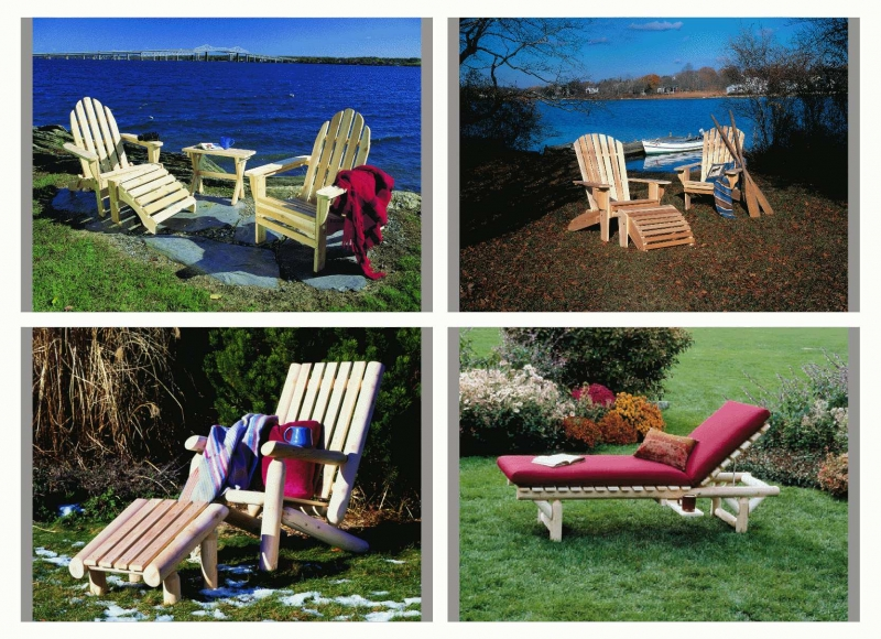 Rustic Natural Cedar_Adirondack - Ottoman - Lounge Chairs