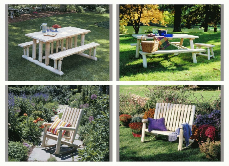 Rustic Natural Cedar_Picnic Tables - Rockers